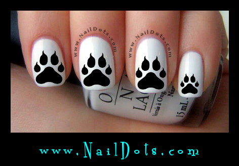 Paw Print with claws Nail Decals - Animal Nail Decals - Nail Dots - Nail Stickers - Nail Art - Cute Nails