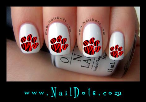 Red Tiger Paw Print Nail Decals - Animal Nail Decals - Nail Dots - Nail Stickers - Nail Art - Cute Nails
