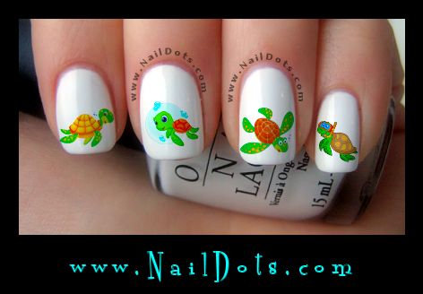 Sea Turtle Nail Decals - Animal Nail Decals - Nail Dots - Nail Stickers - Nail Art - Cute Nails