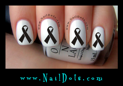Black Awareness Ribbon Nail Decals