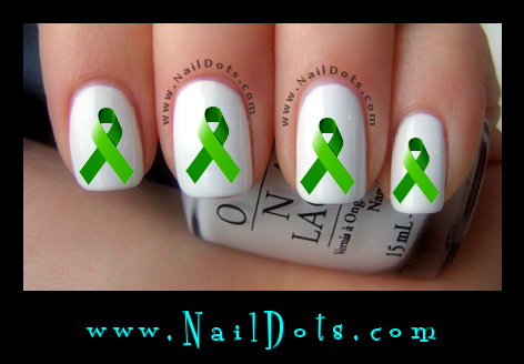 Green Awareness Ribbon Nail Decal