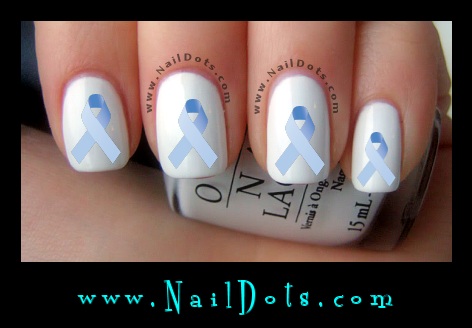 Light Blue Awareness Ribbon Nail Decal