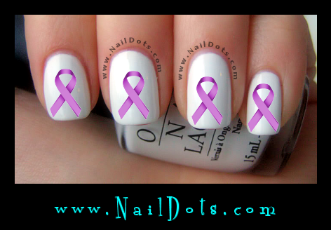 Lilac Awareness Ribbon Nail Decal