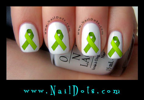 Lime Awareness Ribbon Nail Decal