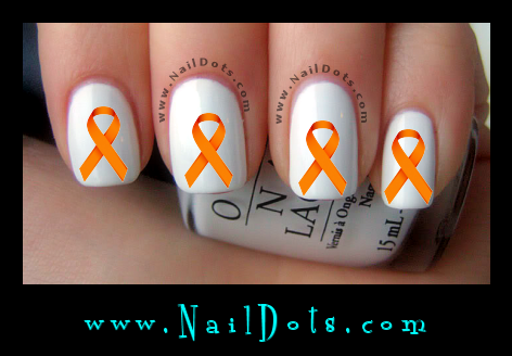 Orange Awareness Ribbon Nail Decal