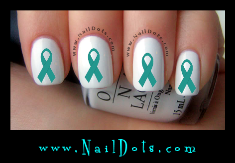 Teal Awareness Ribbon Nail Decal