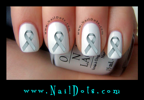 Gray Awareness Ribbon Nail Decal