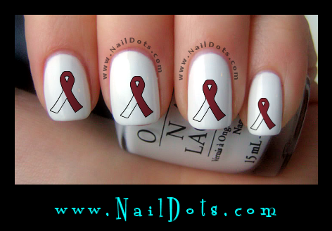 Head Neck Cancer Awareness Ribbon Nail Decal