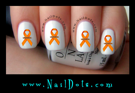 Orange Leukemia Awareness Ribbon Nail Decal