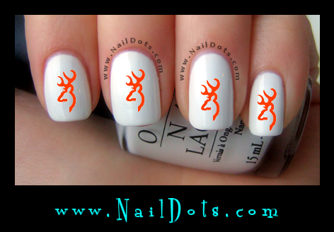 buck deer orange nail decals