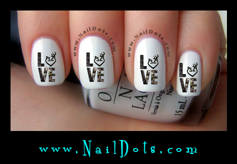LOVE Deer Heart nail decals
