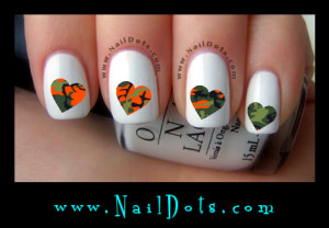 orange camo heart nail decals