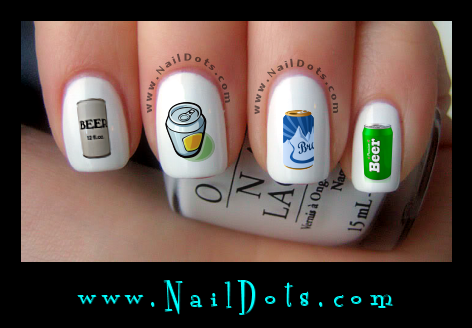 Beer Can Nail Decals