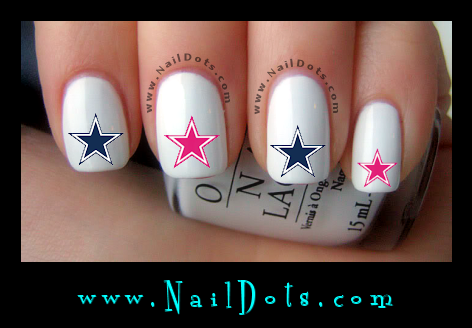 Pink and Blue Star Nail Decals - GSPB