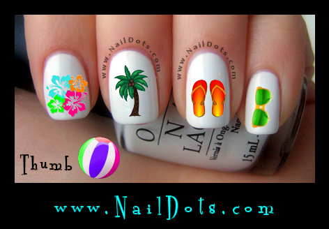 Beach Bum Nail Decals