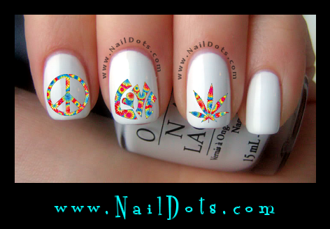 Peace nail decals Love Nail Decals Pot Nail Decals tie die nail decals