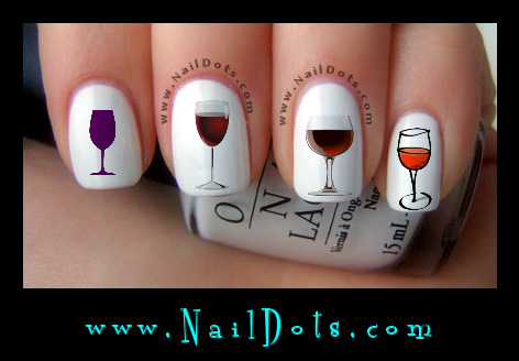 Wine Glass Nail Decals