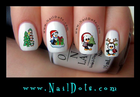 Christmas Nail Decals -  Christmas Penguins