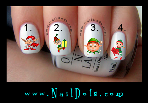 Christmas Nail Decals - Elf Nails Elves