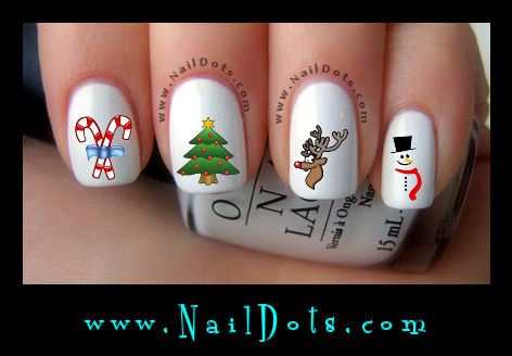 Christmas Nail Decals - Christmas tree Rudolph candy canes snowman