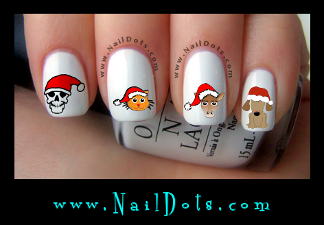 Christmas Nail Decals - In a Santa Hat
