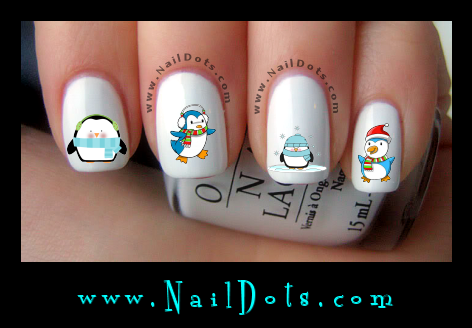 Christmas Nail Decals - Winter Penguin