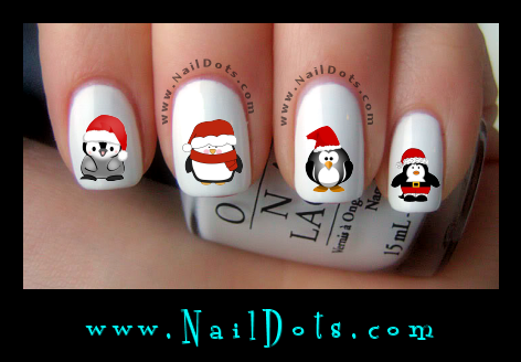 Christmas Nail Decals -  Santa Penguins