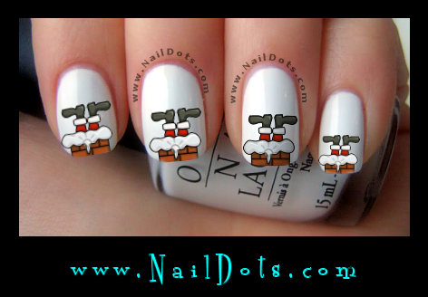 Christmas Nail Decals -  Santa Stuck in a chimney