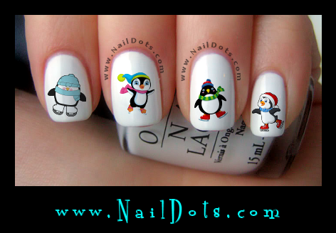 Christmas Nail Decals -  Skating Penguins