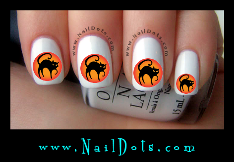 Cat in the Moon Nail Decals