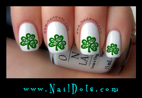 St patricks day nail decals nail decals nail dots decals shamrock nail decals prinsesfo Gallery