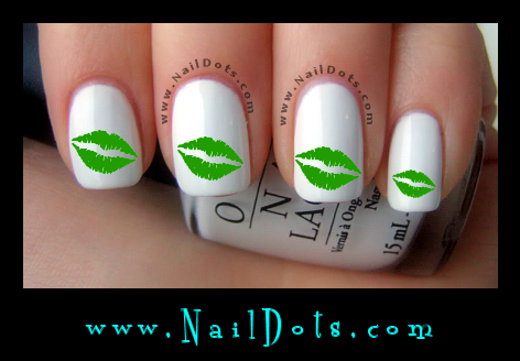 Green Lip Nail Decals