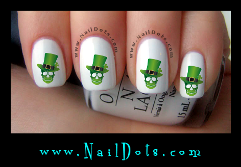 Irish Skull Nail Decals