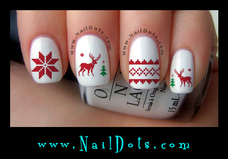 Nordic Nail Decals - Ugly Sweater Nail Decals