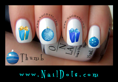 Christmas Nail Decals -  Blue Ornaments Presents