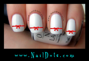 Red Bow Nail Decals