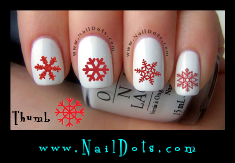 Christmas Nail Decals -  snowflakes- red snowflakes