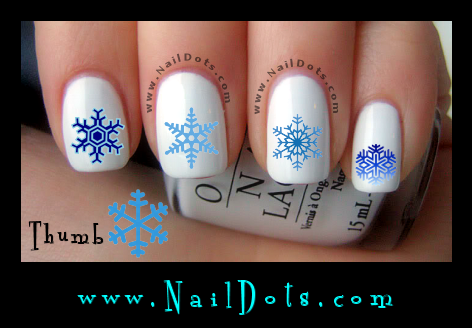 Blue Snowflake Nail Decals
