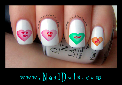 Candy Heart Nail Decals
