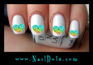 Heart Made of Flowers Nail Decals