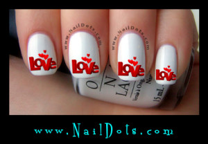 Love and Hearts  Nail Decals