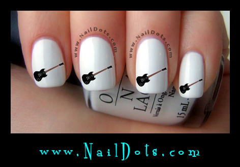 Black Guitar Nail Decals