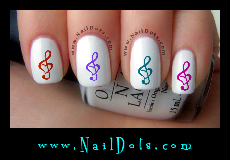Colorful Music Note in a Heart Nail Decals