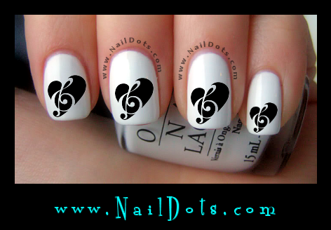 Music Note Heart Nail Decals