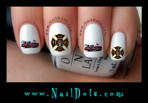 fire fighter nail decals