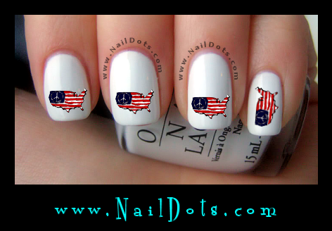 American Flag Peace Nail Decals