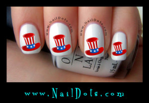patriotic top hat Nail Decals