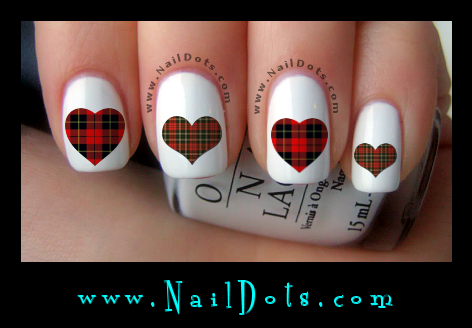 Plaid Heart Nail Decals