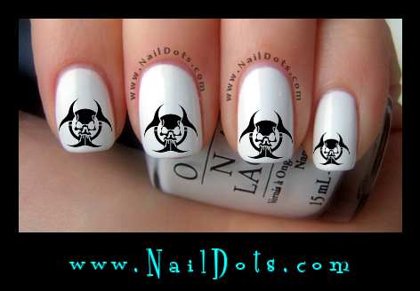 Biohazard Skull 2 nail decals