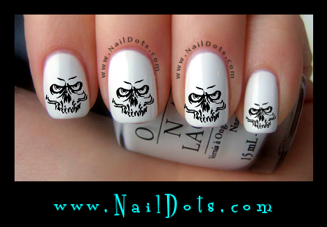 Creepy Skull nail decals
